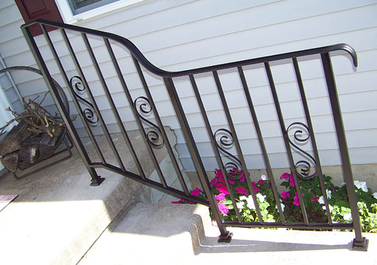 Wrought Iron Railing with Curve and Scrolls
