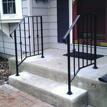 Wrought Iron Railing with Lamb's Tongue Ends