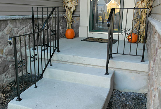 Wrought Iron Railing with Handicapped Extension