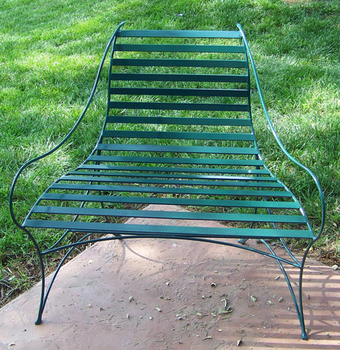 Green Wrought Iron Bench