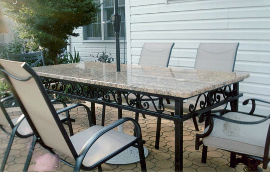 Wrought Iron Dining Room Table with Scrolls
